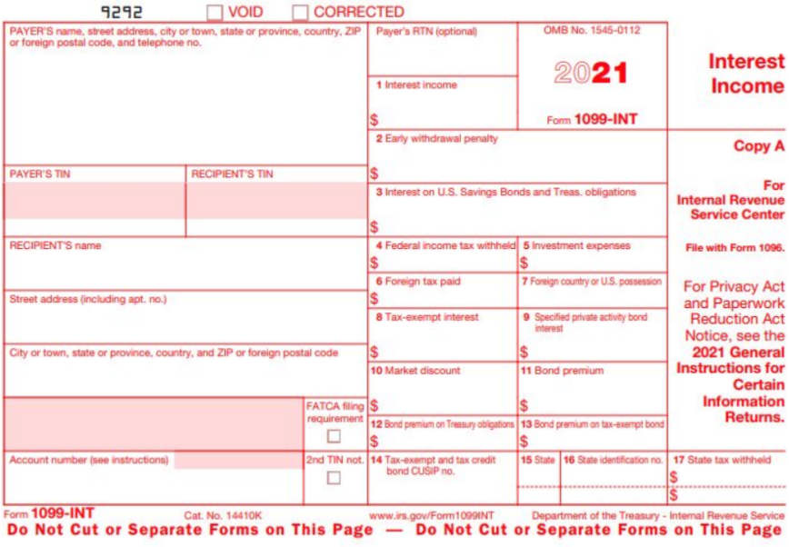2020 IRS Form 1099-INT