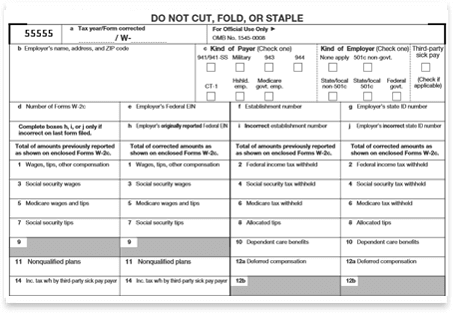 Form W 3c Transmittal Of Corrected Wage Tax Statements Irs Form