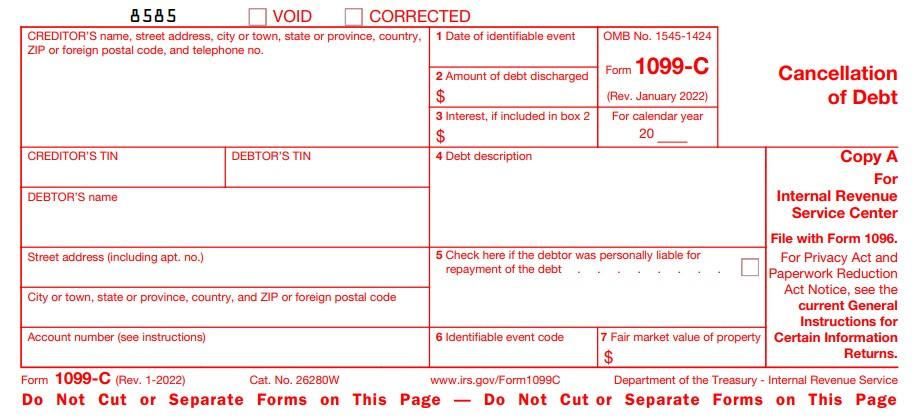 E-File 1099-C Online | 2020 Form 1099-C, Cancellation of Debt