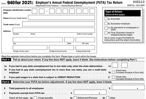 IRS Form 940 for 2019