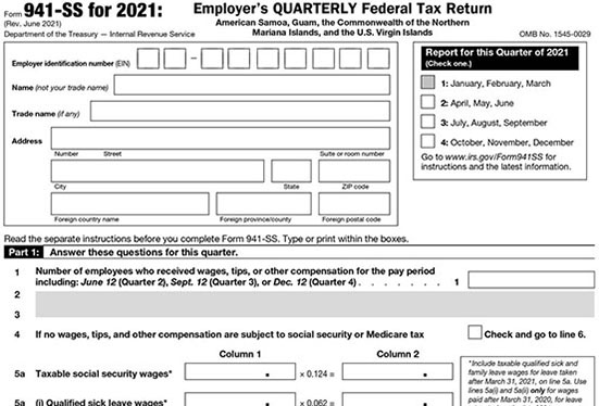 IRS Form 941ss for 2020