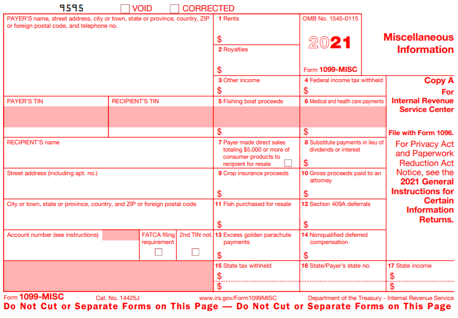2019 IRS Form 1099-MISC