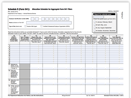 E File 2018 Form 941 Schedule R 941 Aggregate Filing For Cpeo