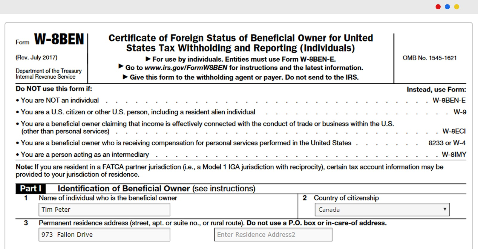 Review the Form W-8BEN